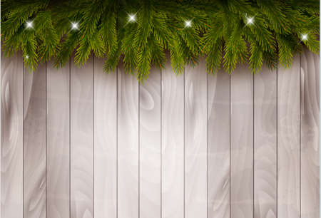 Background with christmas tree branches and baubles in front of a wooden wall. Vector.