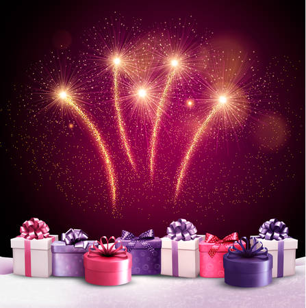 surprise box: Beautiful festive background with fireworks and new years presents. Vector.