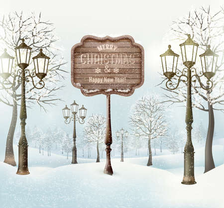 Christmas winter landscape with lampposts and wooden sign. Vector. Illustration