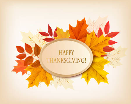 Retro Happy Thanksgiving Background. Vector. Banco de Imagens - 48711626
