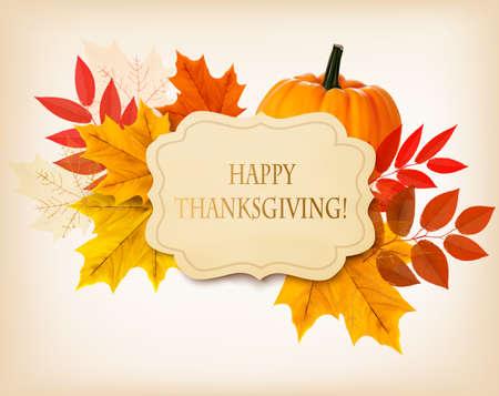 pavo: Fondo Feliz Acción de Gracias con hojas de otoño de colores y una calabaza. Vector. Vectores