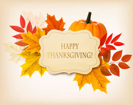 Happy Thanksgiving background with colorful autumn leaves and a pumpkin. Vector. Vettoriali