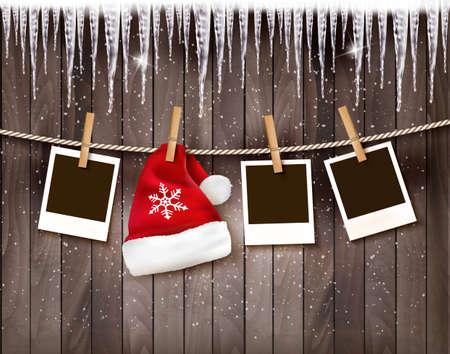 marco madera: Fondo de Navidad con fotos y un sombrero de santa. Vector.