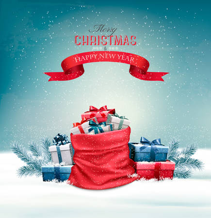 sacks: Christmas snowy background with a red sack with gift boxes. Vector.