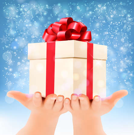 desember: Holiday christmas background with hands holding gift box. Concept of giving presents. Vector Illustration