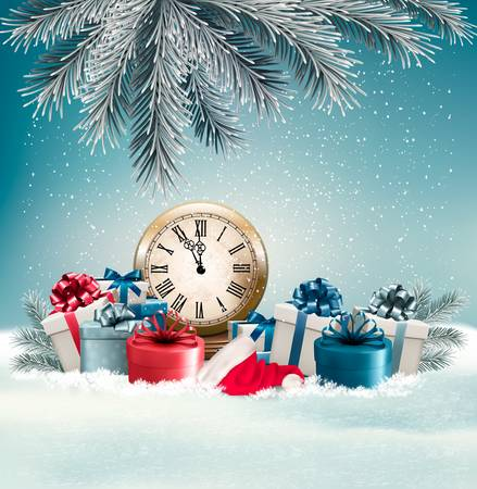 desember: Winter background with presents and clock. Vector. Illustration