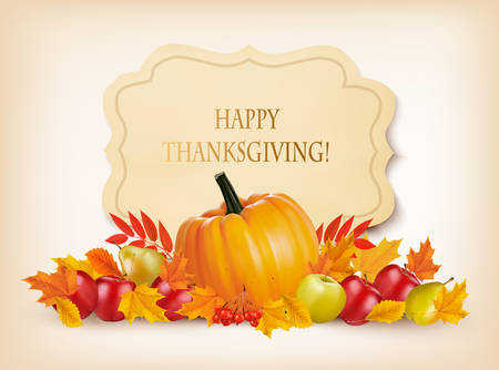 golden apple: Retro Happy Thanksgiving Background. Vector.