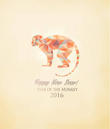 year greetings: Happy New Year 2016 background with a monkey made out of polygons. Year of the Monkey concept. Vector. Illustration