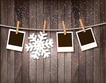 Christmas background with photos and a snowflake. Vector.