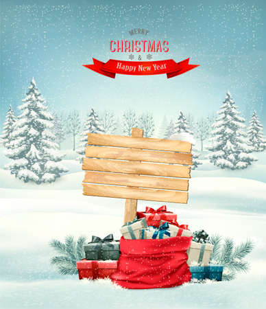 blue banner: Holiday Christmas background with a sack full of gift boxes and wooden sign. Vector.