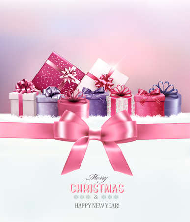 Merry Christmas card with a ribbon and gift boxes. Vector. Zdjęcie Seryjne - 49527802