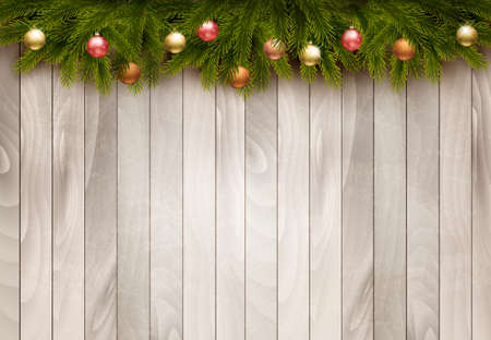 retro christmas: Christmas decoration on old wooden background. Vector