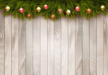 Decorazioni di Natale su sfondo di legno vecchio. Vettore