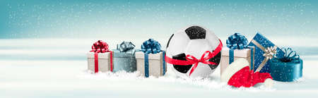 christmas gifts: Holiday Banner with a Gift Boxes and Soccer Ball. Vector