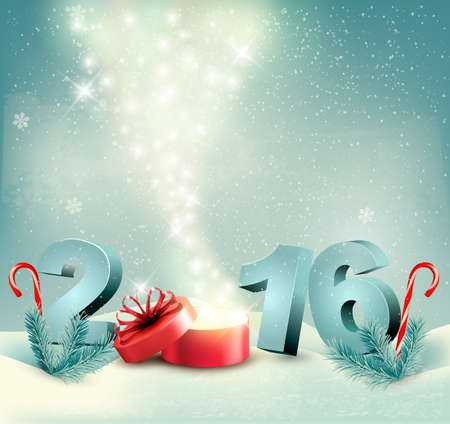 new year of trees: Happy new year 2016! New year design template Vector illustration