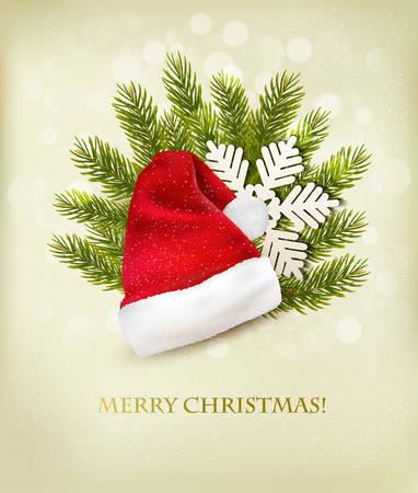 sombrero: Fondo de vacaciones con un sombrero de santa y el árbol de Navidad. Vector.