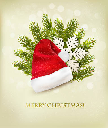 kapelusze: Holiday tła z Santa kapelusz i choinki. Wektor. Ilustracja