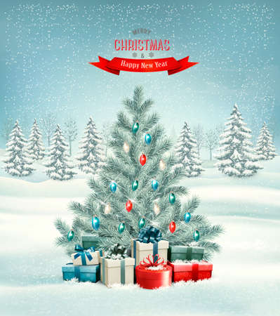 desember: Christmas tree with presents background.  Illustration