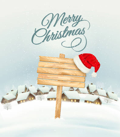 Winter Christmas landscape with a wooden ornate sign background and santa hat. Vector.