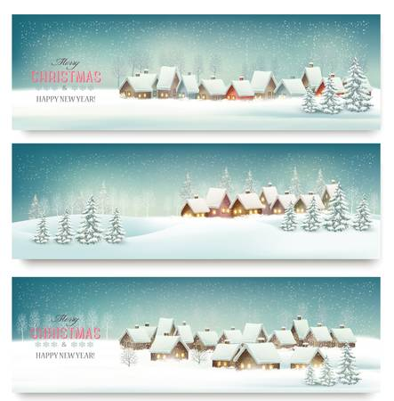 background house: Holiday Christmas banners with villages. Vector. Illustration