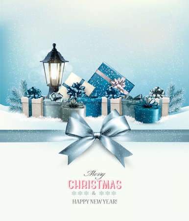 merry christmas: Merry Christmas card with a ribbon and gift boxes. Vector.