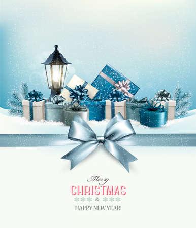 faroles: Tarjeta de Navidad feliz con una cinta y cajas de regalo. Vector. Vectores