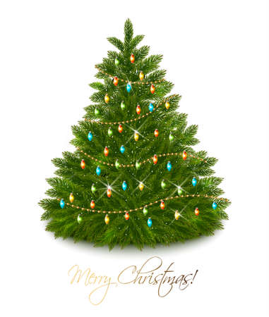 beautiful decorated christmas tree with garland vector stock vector 49696637 - Beautifully Decorated Christmas Tree Images