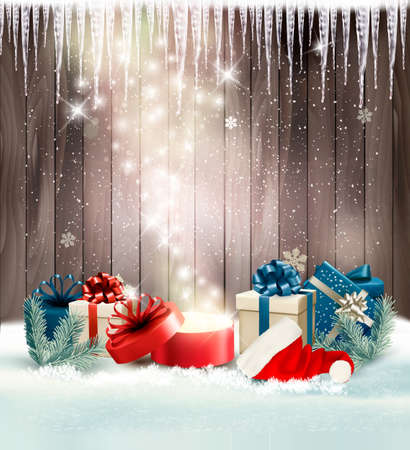 magic box: Christmas holiday background with presents and magic box. Vector. Illustration