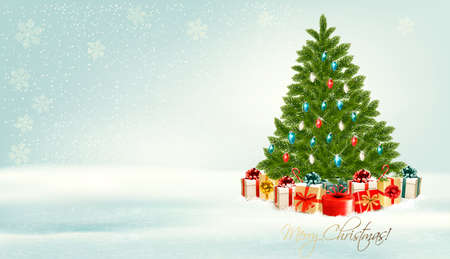 Christmas tree with presents background. Vector