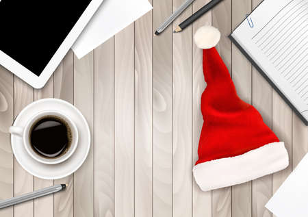 Corporations: Office Background with Santa Hat, Tablet and Office Supplies. Business Concept. Illustration