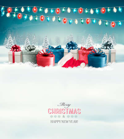 holiday garland: Holiday Christmas background with gift boxes and garland. Vector.