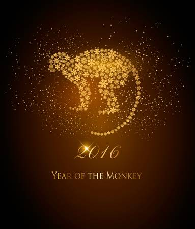 year greetings: Happy New Year 2016 background with a monkey. Year of the Monkey concept. Vector Illustration