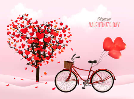 Valentine\'s Day background with a heart shaped tree and a bicycle with heart shaped balloons.