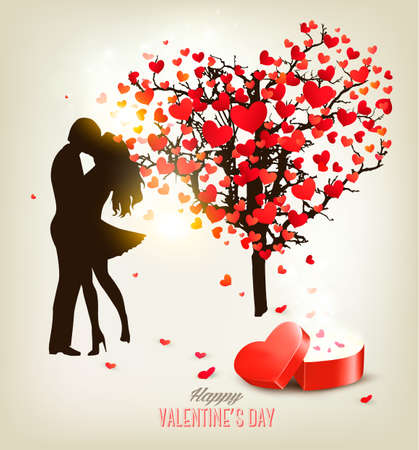 Valentines Day background with a kissing couple silhouette, heart shaped tree and a box. Vector. Illustration