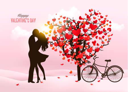31598522cce8e Fondo Del Día De San Valentín Con Una Bicicleta Y Un árbol Hecho De ...