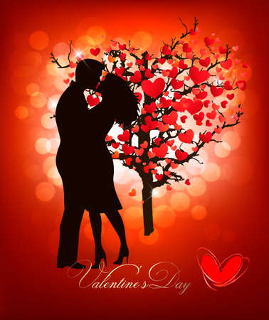 wedding couple silhouette: Valentines Day background with a kissing couple silhouette and heart shaped tree. Vector.