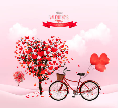 Valentines Day background with a heart shaped tree and a bicycle. Vector.