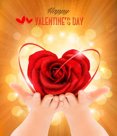 hands holding heart: Valentine`s day background. Hands holding heart shaped rose . Vector illustration