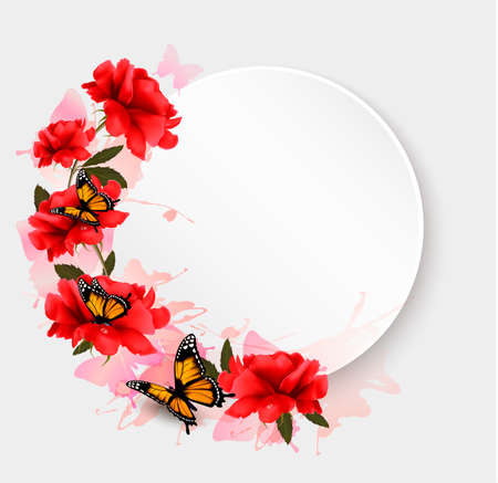 mar: Holiday background with red flowers and butterflies.
