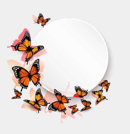 mariposa: Fondo de la mariposa hermosa y una tarjeta de regalo. Vectores