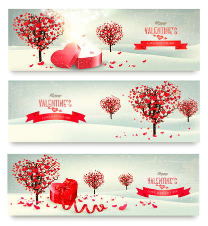 open box: Holiday retro banners. Valentine trees with heart-shaped leaves.