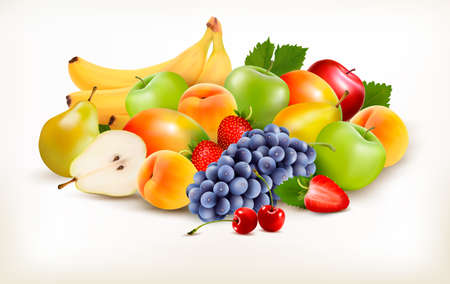 fruits background: Fresh juicy fruit and berries isolated on white background.  Illustration