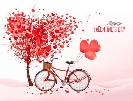 Valentijnsdag achtergrond met een hartvormige boom en een fiets met hartvormige ballonnen. Vector.