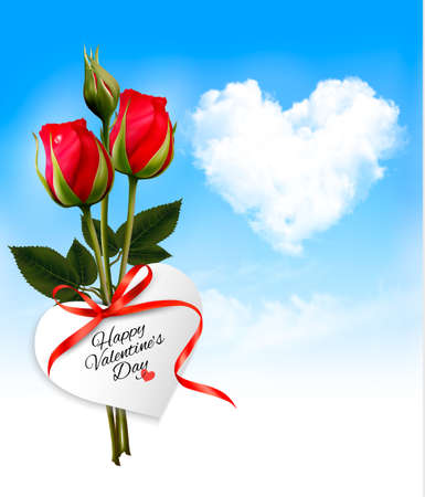 mother day: Valentine background with heart cloud and red flowers. Vector.