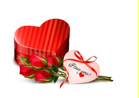 heartshaped: Holiday Valentine`s day background. Red roses with red heart-shaped gift box. Vector