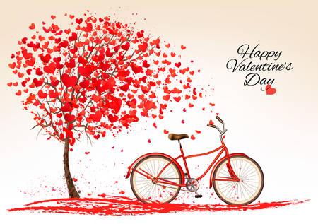 feliz: Fondo del día de San Valentín con una bicicleta y un árbol hecho de corazón. Vector.