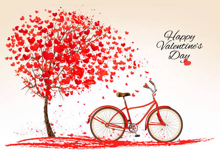old postcards: Valentines day background with a bike and a tree made out of hearts. Vector.
