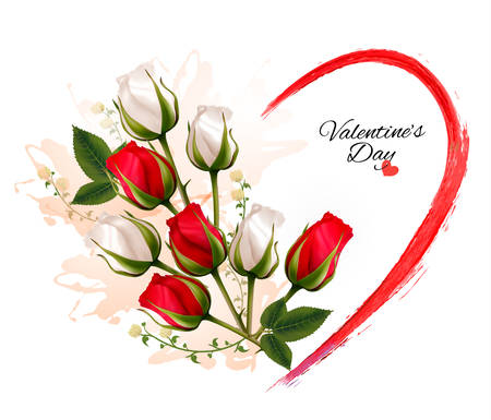 red rose bouquet: Happy Valentines Day beautiful background with roses. Vector.