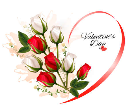 dozen: Happy Valentines Day beautiful background with roses. Vector.