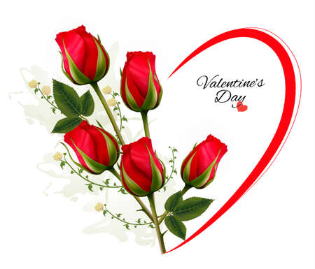 Valentine's Day background with a bouquet of red roses. Vector. Ilustração